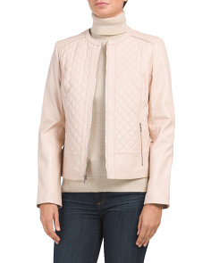 Quilted Collarless Leather Jacket