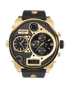 Men's Mr.Daddy Oversized Leather Strap Watch In Gold