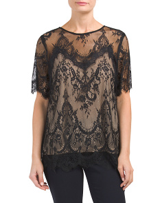 Lace Top With Contrast Underlay