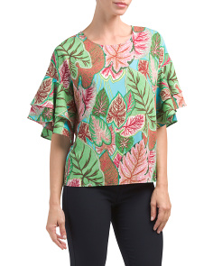 Tiered Sleeve Tropical Top