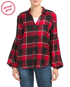Plaid Balloon Sleeve Top