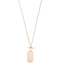 Open Logo Disc Pendant Necklace In Rose Gold Tone