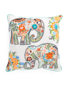 Made In India 20x20 Elephant Pillow