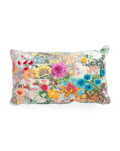 Made In India 14x24 Embroidered Floral Pillow
