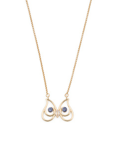 Crystal Accent Owl Outline Necklace