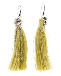 Rhinestone Accented Tassel Earrings