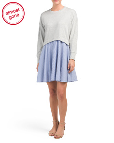 Oversized Sweatshirt With Woven Skirt