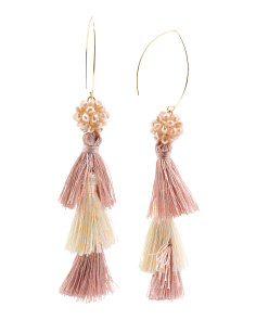 Two Tone Tiered Tassel Earrings With Faceted Beads