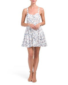 Juniors Button Front Printed Dress