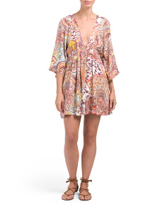 Juniors Kimono Sleeve Paisley Dress