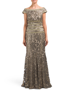 Boat Neck Sequin Gown