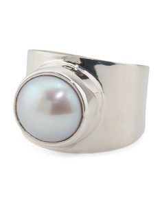 Made In Mexico Sterling Silver Pearl Cigar Band Ring