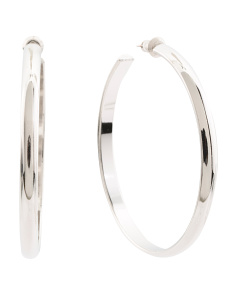 Made In USA Rhodium Plated Domed Hoop Earrings