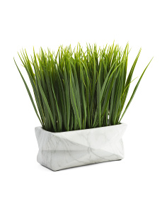 12in Faux Grass In Cement Pot