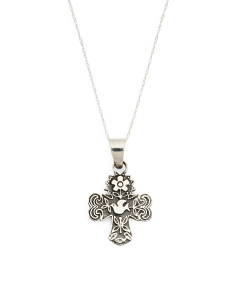 Made In Mexico Sterling Silver Textured Cross Necklace