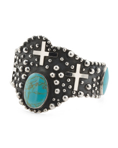 Made In Mexico Sterling Silver Turquoise Cross Cuff Bracelet