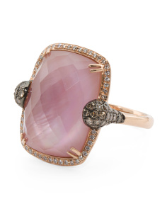 14k Rose Gold Pink Amethyst And Diamond Ring