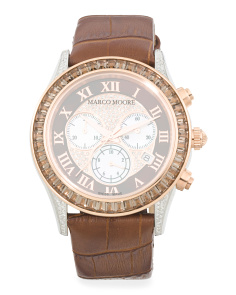 Women's Swiss Made Diamond Accent Chronograph Watch