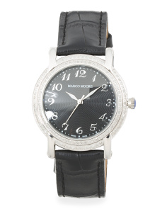 Women's Swiss Made Diamond Bezel Leather Strap Watch