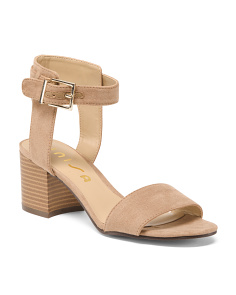 2pc Faux Suede Block Heel Sandals