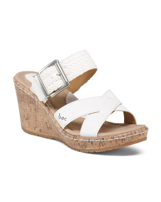 Two Band Cork Wedge Sandals