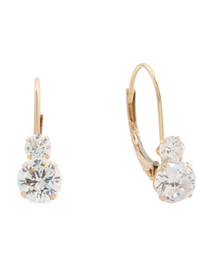 Made In USA 14k Gold Cubic Zirconia Drop Earrings