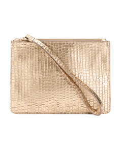 Made In Italy Leather Snakeskin Pouch