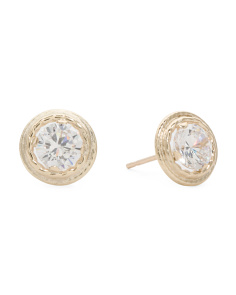 Made In USA 14k Gold 5mm CZ Double Rope Bezel Stud Earrings