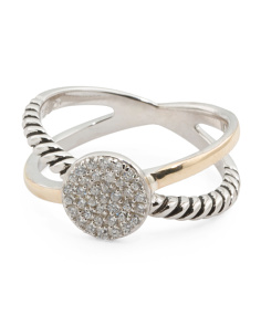 14k Gold And Sterling Silver Pave Cubic Zirconia Disk Bypass Ring