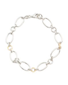 Made In Mexico 14k Gold And Sterling Silver Oval Link Bracelet
