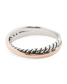 Sterling Silver With 14k Rose Gold Cable Ring