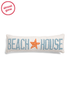 8x24 Hand Hooked Beach House Pillow