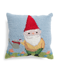 16x16 Hand Hooked Gnome Pillow