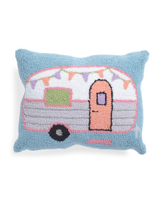 16x20 Hand Hooked Vintage Camper Pillow