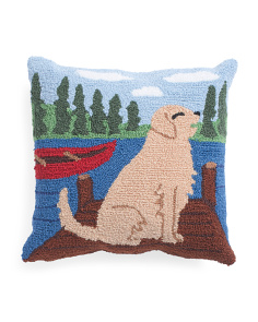 18x18 Hand Hooked Lab Pillow