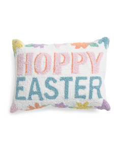 14x18 Hand Hooked Hoppy Easter Pillow