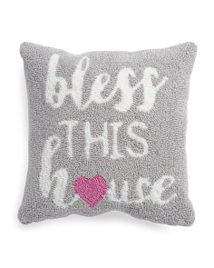 16x16 Bless This House Hand Hooked Pillow