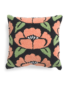 16x16 Floral Hand Hooked Pillow