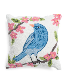 18x18 Hand Hooked Blue Bird Pillow