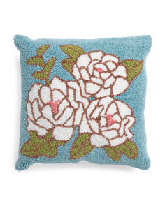 18x18 Hand Hooked Carnation Pillow
