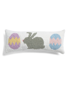8x20 Hand Hooked Bunny Eggs Pillow