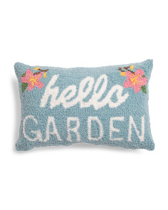 12x18 Hello Garden Hand Hooked Pillow
