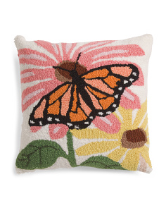 18x18 Hand Hooked Butterfly Pillow