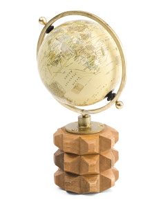 Made In India Globe On Carved Wood Base