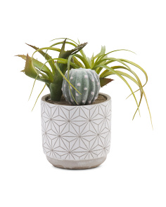 13in Faux Succulents In Cement Pot