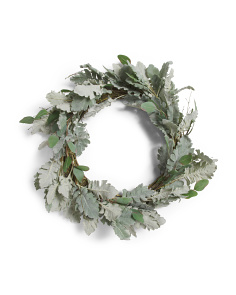 20in Faux Dusty Floral Wreath