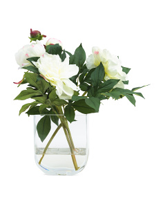 18in Faux Peony In Glass Jar