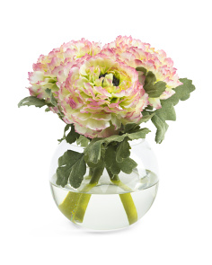 8in Faux Ranunculus In Glass Vase