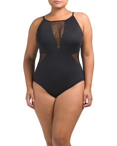 Plus Meshed Up One-piece Swimsuit
