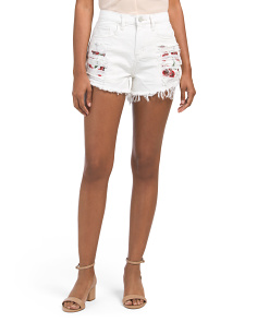 High Rise Destructed Denim Shorts